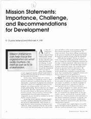 Mission Statements- Importance, Challenge, and Recommendations for Development