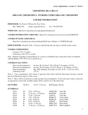CHEM 281 2011-3 Course Information and Outline - Lecture 2 - Week 1