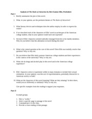 Worksheet The Rules of Attraction by Bret Easton Ellis