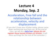 Lecture 4 Acceleration