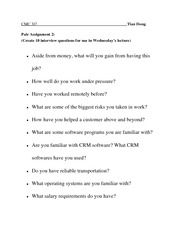 Sample Interview Questions 2