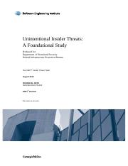 Unintentional Insider threats-foundational study (Carnegie Mellon)