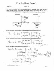 Solution Practice Hour Exam 2 PHY 10