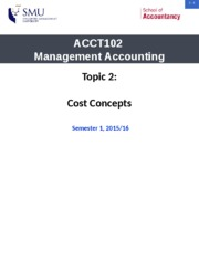 Topic 2 - Cost Concepts