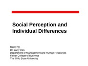 MHR 701--Social Perception and Individual Differences