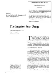 Whaley(2000)-the investor fear