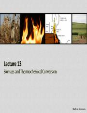 Lecture 13 - Biomass and Thermochemical Conversion(2)