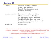 L11SlidesF14 (More on DFT, leakage, windowing)
