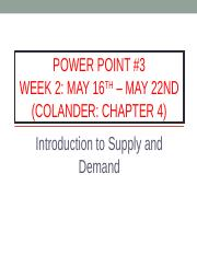 Power Point #3 - Supply and Demand