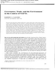 Govenance trade and the environment in the context of NAFTA