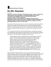 Week 4 - Hu Shi - Ibsenism [Supplementary]-1