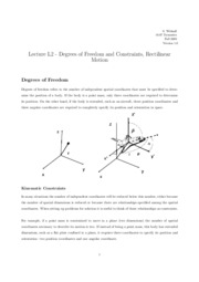 L2 Degrees off Freedom and Constraints, Rectilinear Motion