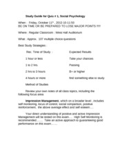 Study Guide for Quiz # 1 Soc Fall 2013