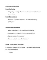 Event Marketing Notes