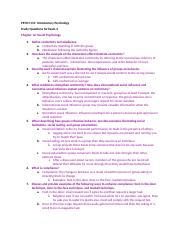 Introductory Psychology Study Questions for Exam 4 Answers