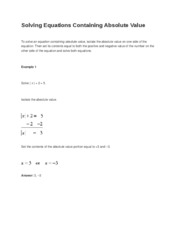 Solving Equations Containing Absolute Value