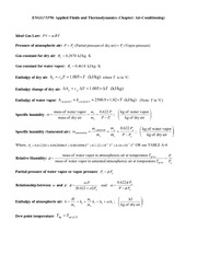 Air conditioning equation and problem W15
