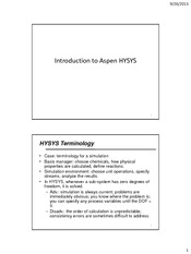 CHEN 470 - Part 4 - Introduction to Aspen HYSYS - Fall 2013-14