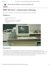 PHY 133 Lab 5 - Conservation of Energy [Stony Brook Physics Laboratory Manuals]