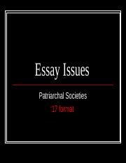 Essay Issues-Patriarchal