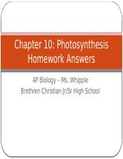 Chapter 10 Homework Answers