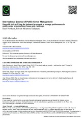 Article 5 Using the balanced scorecard to manage performance in public sector organizations Issues a