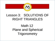 L3 Solutions of Right triangles