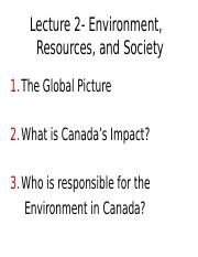 Lecture 2 - Environment and Resources - A2L