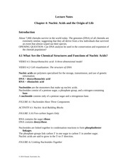 Ch04 Lecture Notes-Nucleic Acids and the Origin of Life