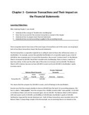 A-100 Ch. 3 Common Transactions and Their Impact on Financial Statements