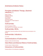 Anitinfective Antibiotic Notes