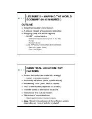 Lecture 5 - Mapping the world economy