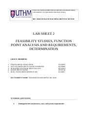 Lab 2 Feasibility studies, Function Point Analysis and Requirement, Determination