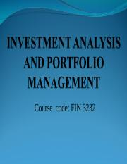 INVESTMENT ANALYSIS AND PORTFOLIO MANAGEMENT (1) 111.ppt