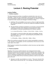 Introduction to Neurobiology - Lecture Notes 03 - Resting Potential