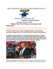 Political Science 2305 Notes for First Test on Groups and Interests Summer Session I 2018.doc