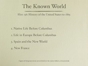 2. The Known World