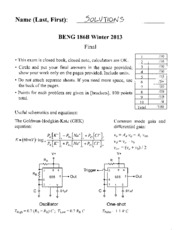 Final Exam Solutions 2013
