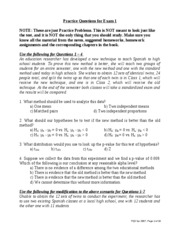 Practice Questions for Exam 1