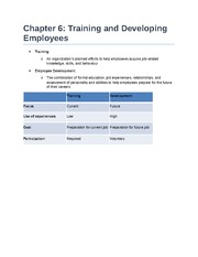 Chapter 6 - Training and Developing Employees