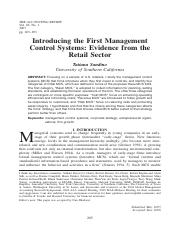 Sandino, T., 2007, Introducing the First Management Control Systems Evidence from the Retail Sector.
