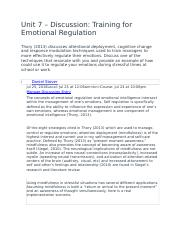 Unit 7 – Discussion- Training for Emotional Regulation.docx