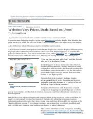 Websites Vary Prices, Deals Based on Users Information - WSJ