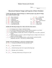 Matter Homework Packet Key 1 Name Period Physical And Chemical Changes Properties Of Worksheet Clify The