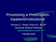 Inpatient Pharmacy Practice 2008
