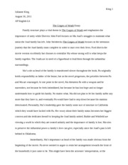 grapes of wrath essay about family Free essay on the grapes of wrath  in five pages this report discusses the theme of family values as depicted in the grapes of wrath,.