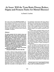Tut Topic 4 Reading (1) Will the term brain disease reduce stigma
