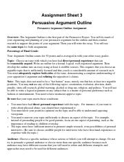 Assignment Sheet Outline Argument 3