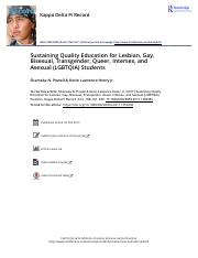 Sustaining Quality Education for Lesbian Gay Bisexual Transgender Queer Intersex and Asexual LGBTQIA
