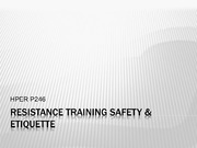 Resistance Training Safety Etiquette Lecture Slides